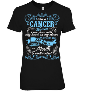 Cancer Woman I Was Born With My Heart On My Sleeve T Shirts