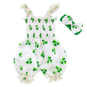 Newborn Festival Baby Girls Outfits Ruffles Sleeveless Girls Romper Headband 2pcs Baby Set My First St. Patrick Day Baby Clothes