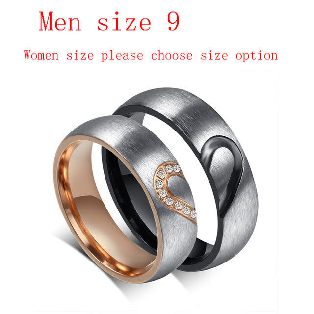 His & Hers Love Heart Wedding Promise Rings Set Stainless Steel Couples Engagement Bands for Men Woman