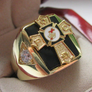 Gold Filled New Mens Knights Templar Past Commander Crest Ring