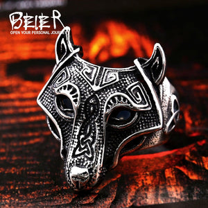Viking Nordic Wolf Animal wholesale Ring Fashion Punk Rock hot sale Jewelry BR8-534