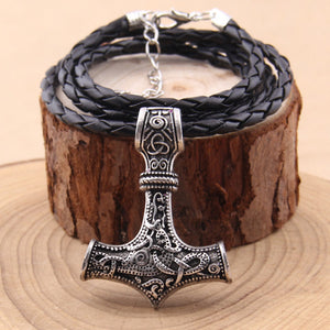 hammer mjolnir pendant necklace viking scandinavian norse viking necklace with stainless steel chain