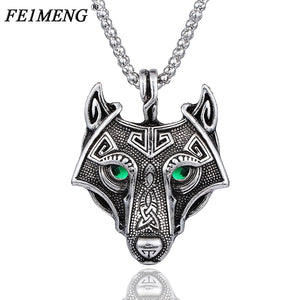 Vintage Norse Wolf Head Vikings Pendant Necklace