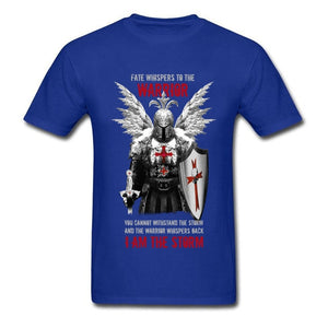 Knights Templar Warrior Print Manly Male Black Tops Tees