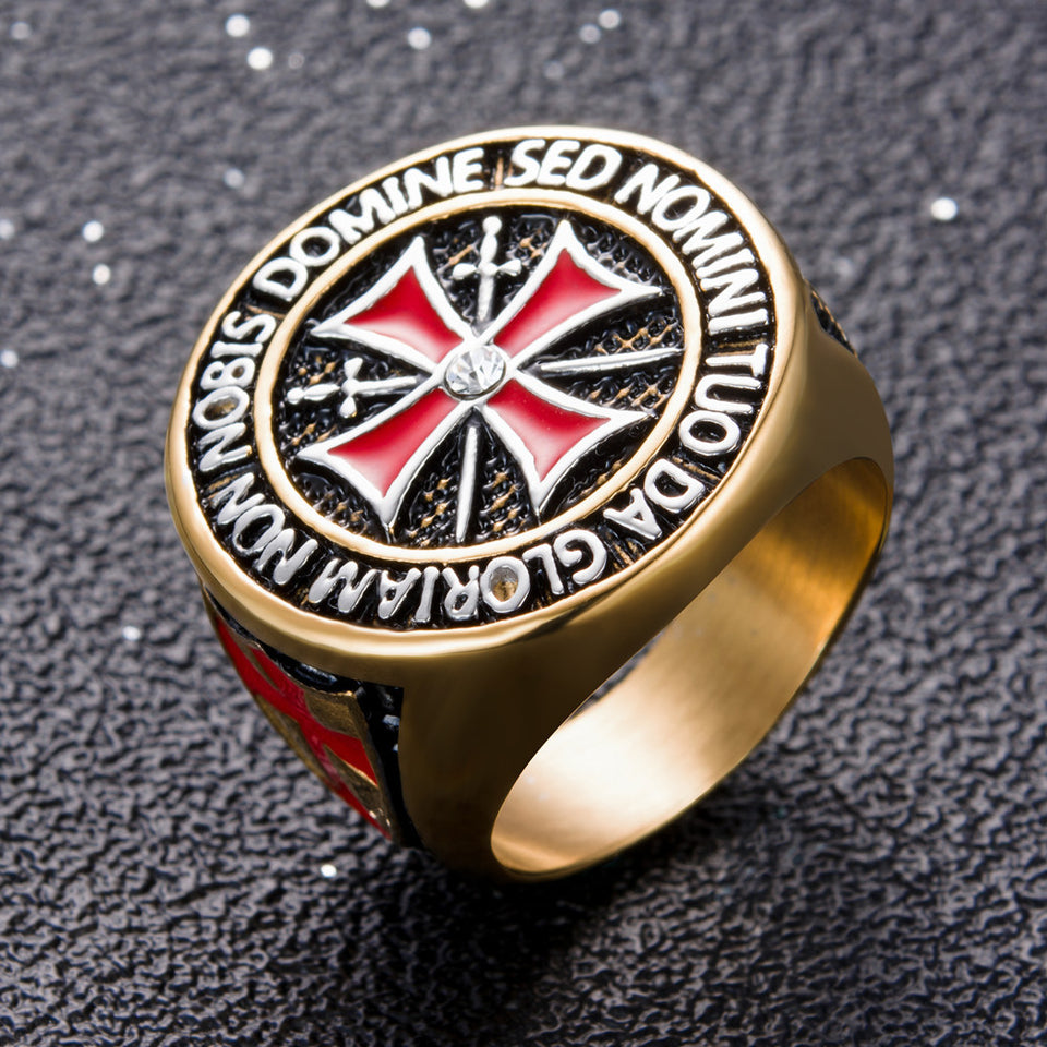 US Size 7 to 15 Stainless Steel Retro Iron Knights Templar Ring Men Red Enamel Cross Ring Cubic Zirconia Men Gift