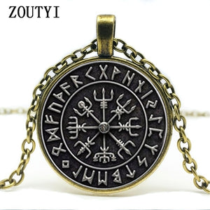 2019 Viking Compass pendant jewelry glass cabochon necklace, men and women wear necklaces.