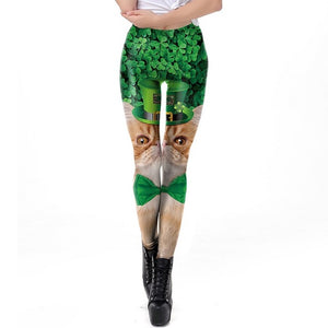 Clover Leggings Women St. Patrick's Day  3D Cat With Cap Printed Workout Fitness Leggins