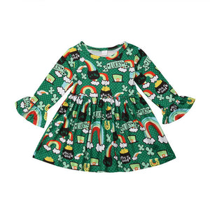 Kid Baby Girl St Patrick's Day Cotton Dress Long Flare Sleeve Rainbow FloralDress O-Neck Pleated Dress 1-6Y