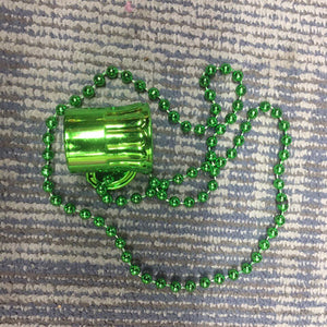 St Patrick Day Mini Beer Mug Pendant Bead Chain Necklace Party Jewelry Decor