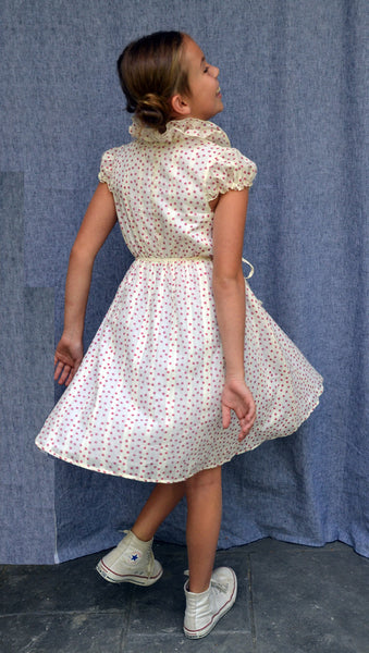 Cecelia dress, Confetti Dots, Ivory