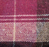 Box Plaid, Plum ground wool blend, by the yard