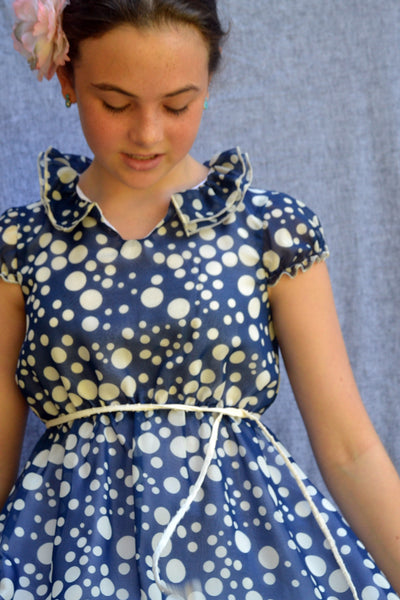 Cecelia dress, Tiddly Wink Dots, Tweens sizes 10-14