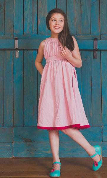 Greta Dress, Tiny Wale Cord, Pale Pink