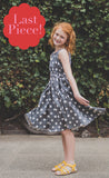Rose Dress, Charcoal Dots, Cotton Sateen