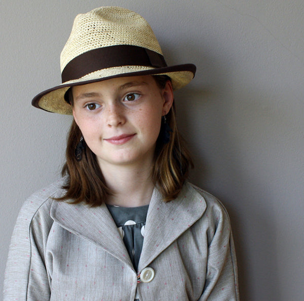 Girls Modern Crotcheted Panama Hat, Natural with Brown