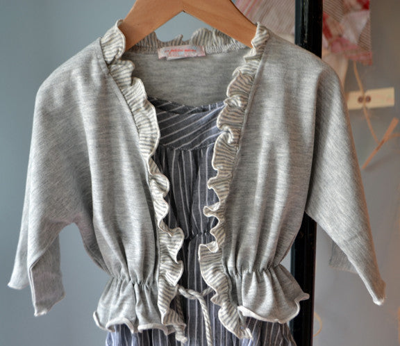 Dahlia Cardigan, Lt Grey Heather Tissue Jersey