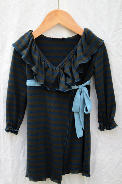 Edith wrap dress, cora stripe