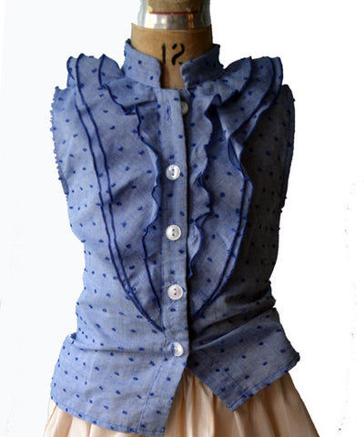 Emilie Blouse, Alyce Dot, chambray
