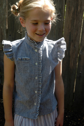 Fey Blouse, faded linen