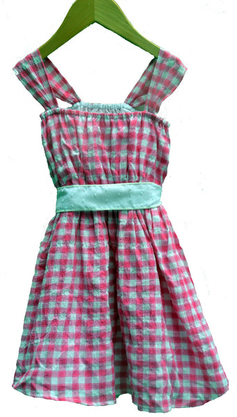 Flicka Dress<br>Alfresco Check, Alyce Dot tie, size 4 only
