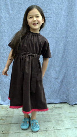 Prudence dress, Tiny Wale Cord, Chocolate