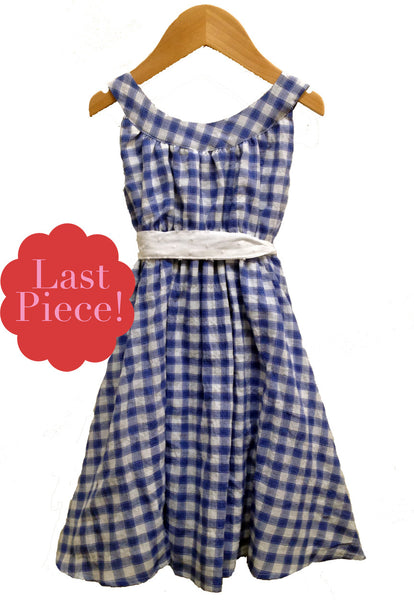 Gertrude dress, Alfresco Check, Provence Blue, size 12 only