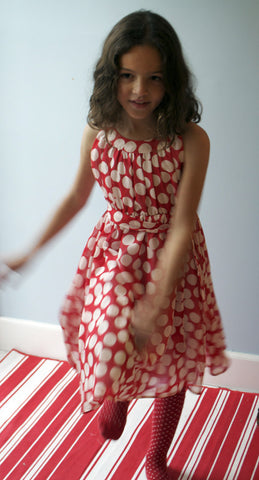 Gertrude dress, Chiffon Dots, red, size 4t only!
