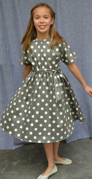 Grace dress, Charcoal Dots, Cotton Sateen--sold out