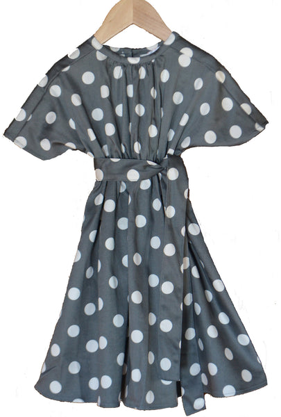 Grace dress, Charcoal Dots, Cotton Sateen, size 10 only
