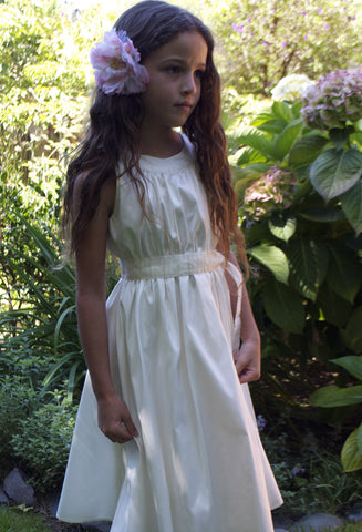 Greta dress, Clara Silk & striped organza, alabaster