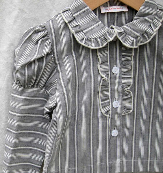 Stella Stripe, grey textured cotton stripe, by the yard