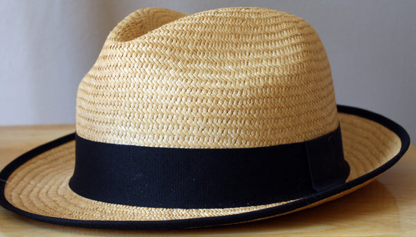 Girls Modern Panama Hat, Natural with Black