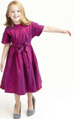 Sofia dress, Clara Silk, ruby with fuschia fringe trim