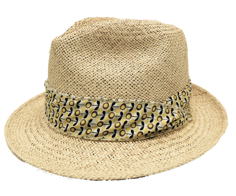 Girls Panama Hat, Natural & Lolli Flower