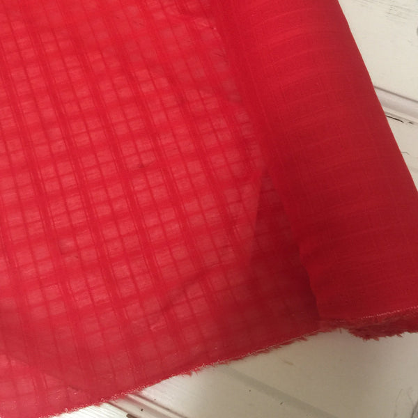 Tonal Check, Blood Orange Voile, by the yard