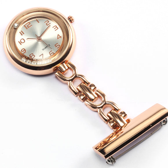 Crystal Quartz Rose Gold Stainless Steel Nurses Clip-on Watch,