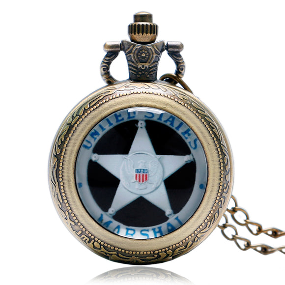 USA 1789 Marshal, Quartz Pocket Watch Men With Chain