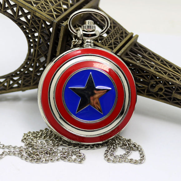 Captain American Star Shield Pocket Watch