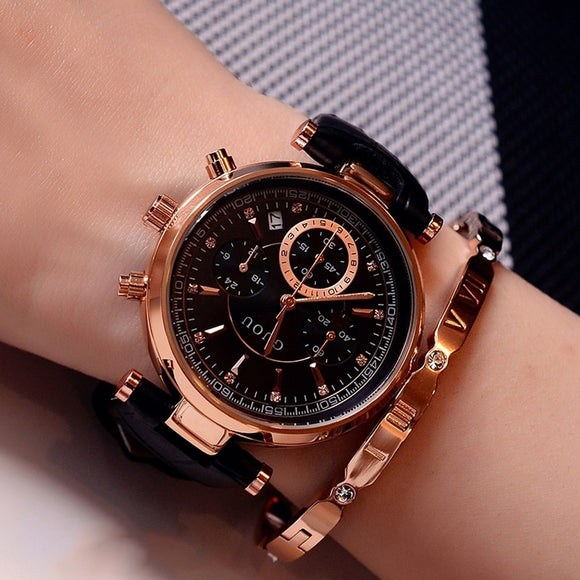 Womens's Fashion Waterproof Leather Band Or Rose Gold Steel Band Calendar Wristwatches