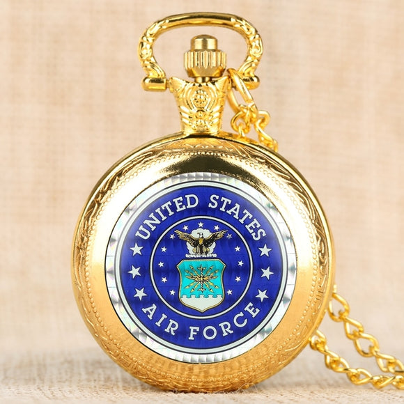 US Air Force Eagle Stars Quartz Pocket Watch and Pendant