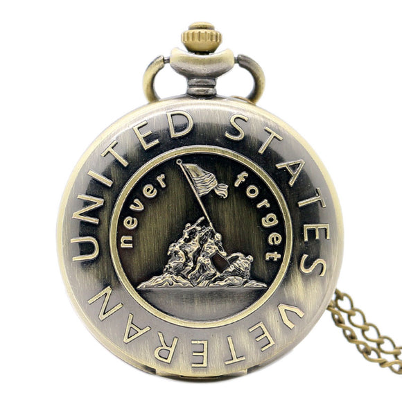 Bronze Pocket Watch With Chain, United States Veterans