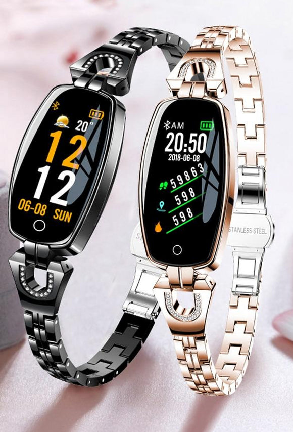 Women's Fashion Smart Watch, OLED Heart Rate Blood Pressure Monitor, Pedometer