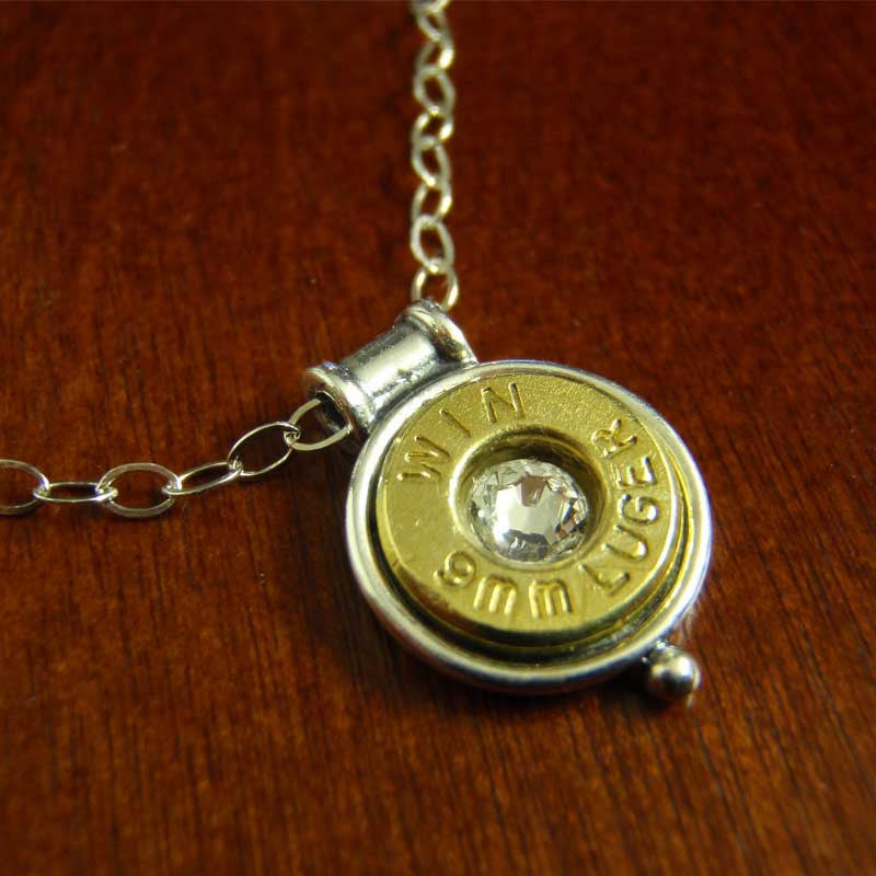 9mm Bullet Necklace - Sterling Silver