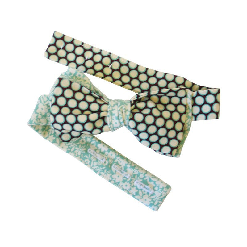 3-in-1 Bow Tie - Turquoise Dots