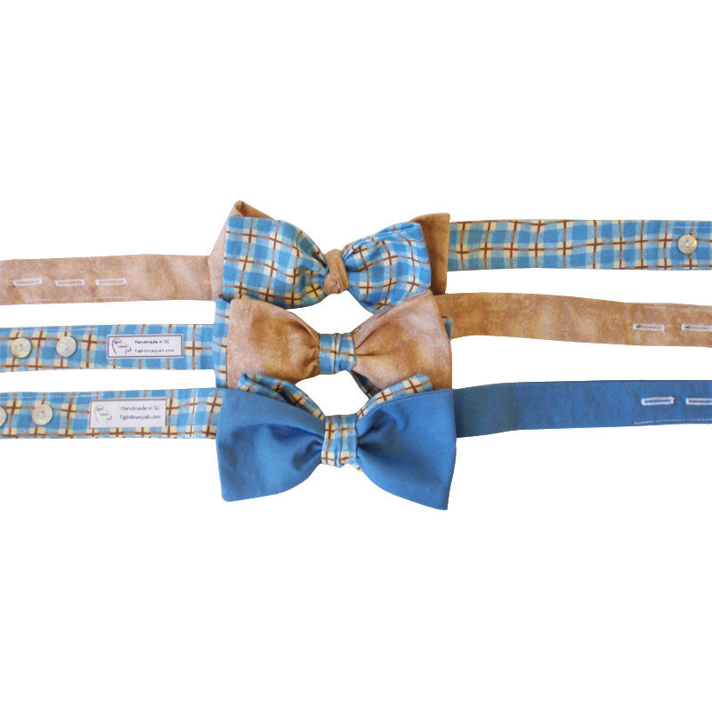 3-in-1 Bow Tie - Blue Plaid