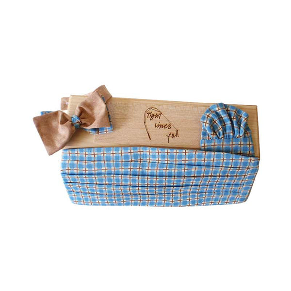 Formal Wear Set (2Tails, Cummerbund, & Pocket Square) | Blue Plaid