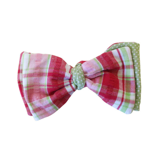 Hair Bow - Pink Plaid w/ Green Dots