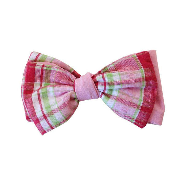 Hair Bow - Pink Plaid w/ Pink