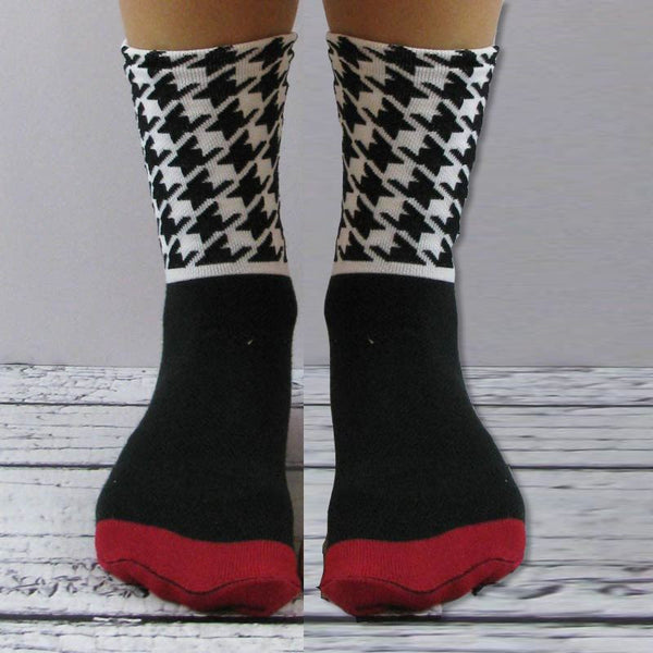 JoJoSox Tuff Cuff Paddock Boot Socks - Black & White Houndstooth