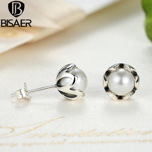 Echtes 925 Sterling Silver Earrings Cultured Imitation Pearl Stud Earrings for Women Authentic Pearl Jewelry Valentine Day Gift